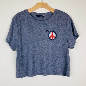 NWT Abercrombie & Fitch Grey Peace Sign Crop Tee